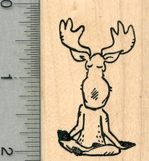 Meditating Moose Rubber Stamp, Yoga series