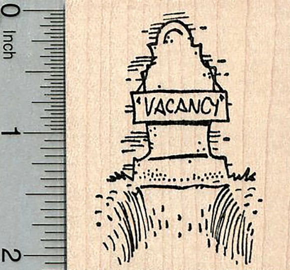 Halloween Grave Rubber Stamp, Vacancy, Cemetery Series