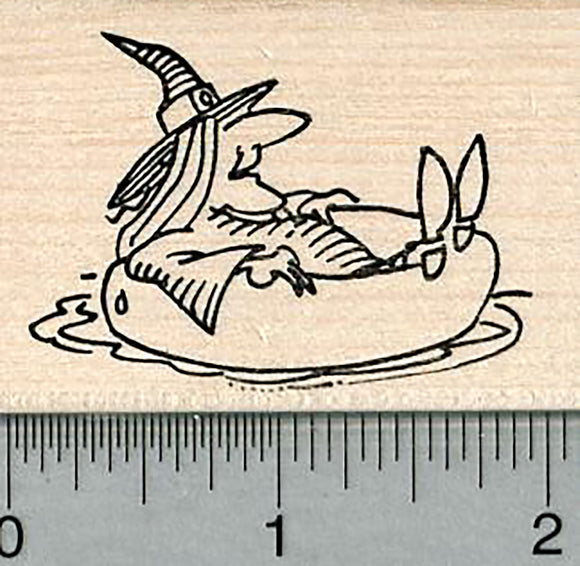Floating Witch Rubber Stamp, Halloween Series