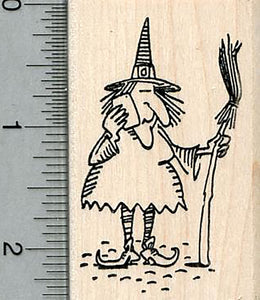 Witch Rubber Stamp, Halloween Series, On cell phone