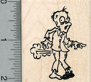 Zombie Farting Rubber Stamp, Brain Fart Series