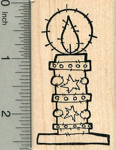 Christmas Candle Rubber Stamp, Irish Holiday Series