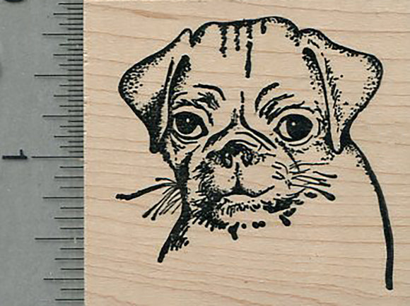 Pug Face Rubber Stamp, Puppy Dog Portrait
