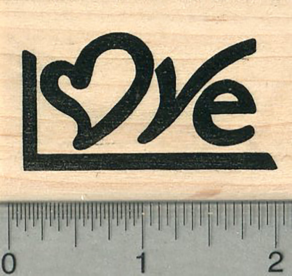 Love Rubber Stamp, with Heart