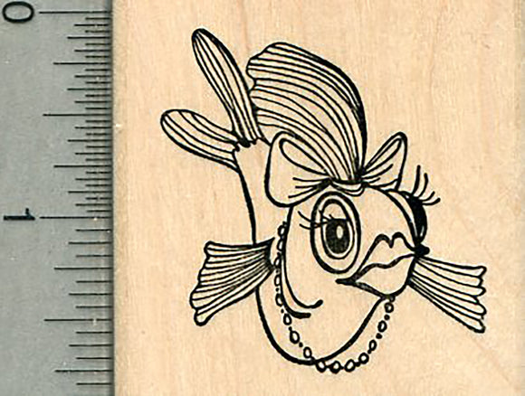 Lady Fish Rubber Stamp, Lipstick and Hair Bow