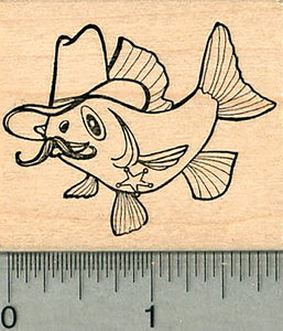 Cowboy Fish Rubber Stamp, Hat, Sheriff Badge, Mustache