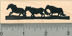 Horse Silhouette Rubber Stamp, Three Horses - Great for Borders