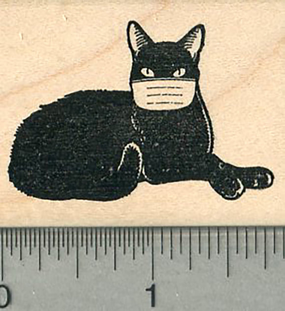 Black Cat Rubber Stamp, Wearing a face mask, Virus Series