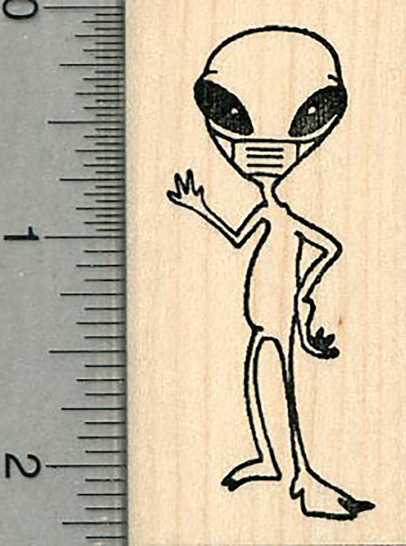 Alien Rubber Stamp, Wearing a Mask, Virus Series