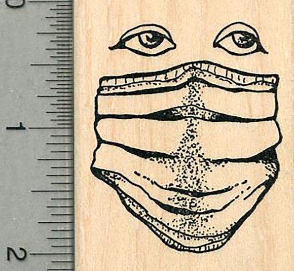Masked Face Rubber Stamp, with eyes, Healthcare Heroes Series