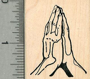 Praying Hands Rubber Stamp, 1 3/4 inch tall, Faith Series