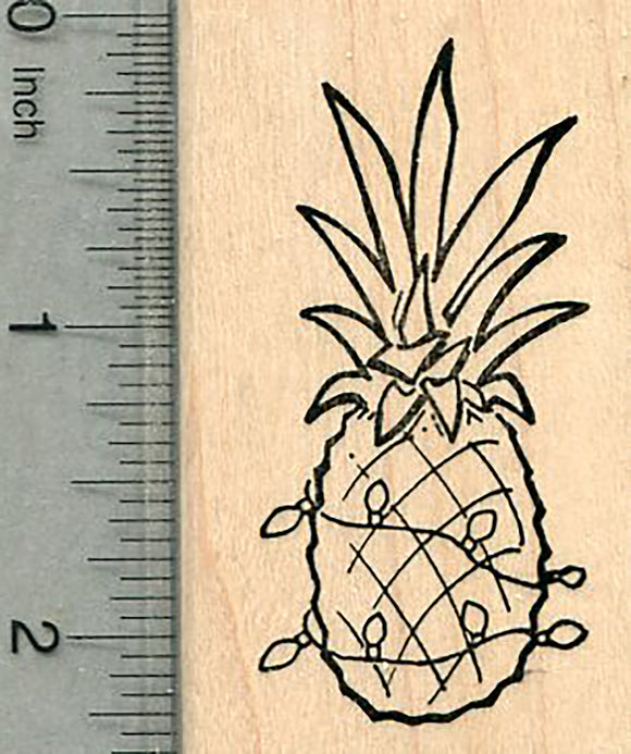 Christmas Pineapple Rubber Stamp, with Holiday Lights, Hawaii Series