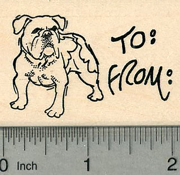 Bulldog Gift Tag Rubber Stamp, Dog Standing