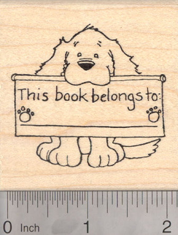 Dog Bookplate Rubber Stamp, This Book Belongs To…