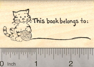 Cat Bookplate Rubber Stamp, This Book Belongs To…