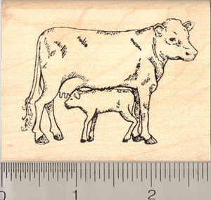 Cow and Calf Rubber Stamp, Farm, Livestock, Beef, Dairy
