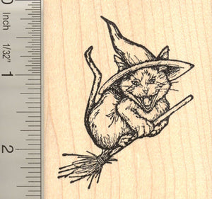 Cackling Cat Witch Rubber Stamp
