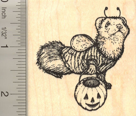 Halloween Ferret Bee (Ollie) Rubber Stamp