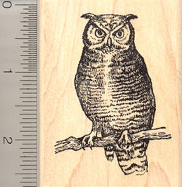 Great Horned Owl Rubber Stamp, Coastal Predatory Bird