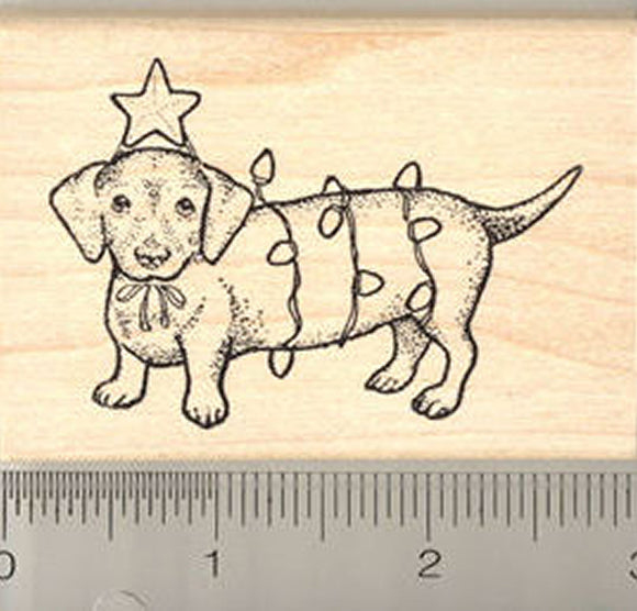 Christmas Dachshund with Lights Rubber Stamp - Wood Mounted