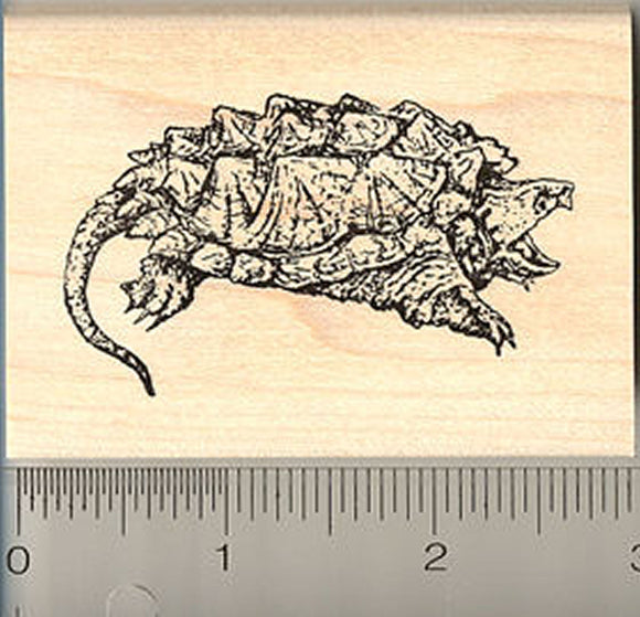 Alligator Snapping Turtle Rubber Stamp