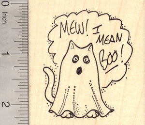 Mew Boo! Trick or Treat Cat Rubber Stamp