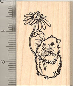 Cute Teddy Bear Hamster Rubber Stamp