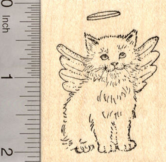 Cat Angel Rubber Stamp, Long-haired Breed, Pet Loss