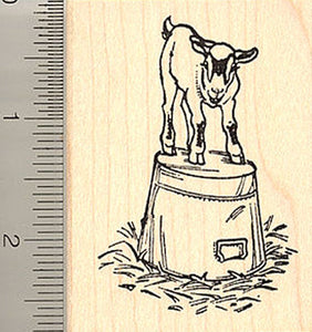 Pygmy Goat on a Bucket Rubber Stamp, Farm Animal