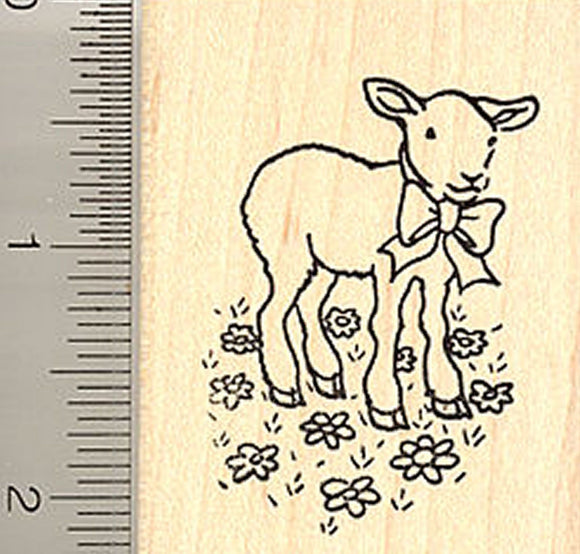 Spring Lamb Rubber Stamp, Easter