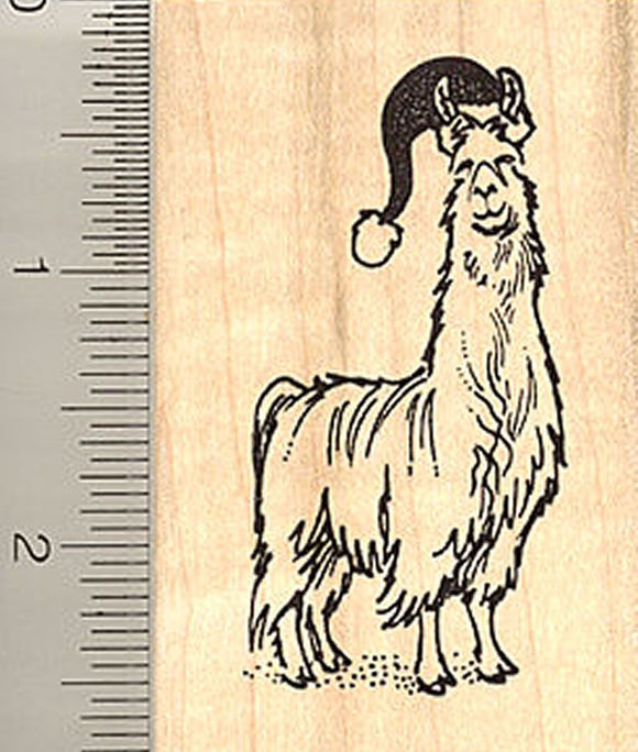 Santa Hat Wearing Christmas Llama Rubber Stamp