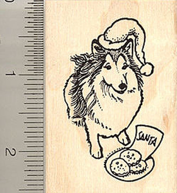 Sheltie Dog Waiting for Santa Rubber Stamp - Wood Mounted