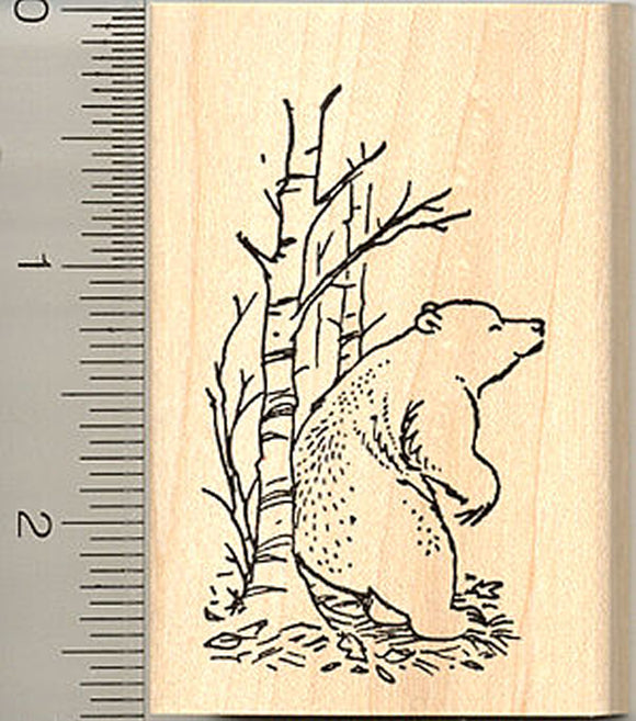 Bear in Woods Rubber Stamp - Wood Mounted
