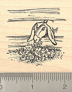 Nubian Goat Grazing Rubber Stamp
