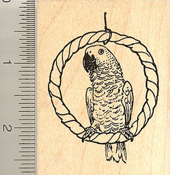 African Grey Parrot Rubber Stamp