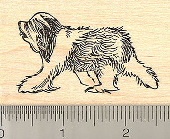 Sheepdog Rubber Stamp - Wood Mounted