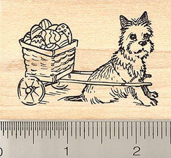 Cairn Terrier Dog with Easter Egg Cart Rubber Stamp