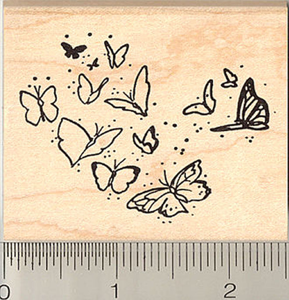 Butterflies in Flight Rubber Stamp