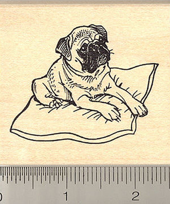 Pug on Pillow Rubber Stamp