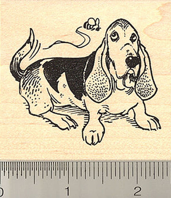 Basset Hound with Bee Rubber Stamp