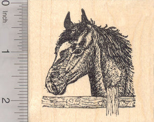 Horse by Fence Rubber Stamp, Farm Portrait
