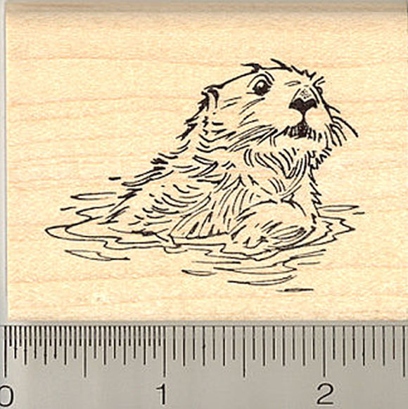 Sea Otter Rubber Stamp - Wood Mounted