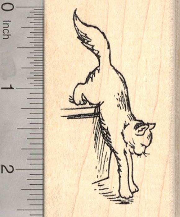 Down Kitty Cat Rubber Stamp