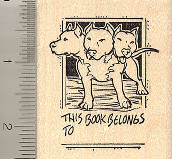 Cerberus Book Plate Rubber Stamp