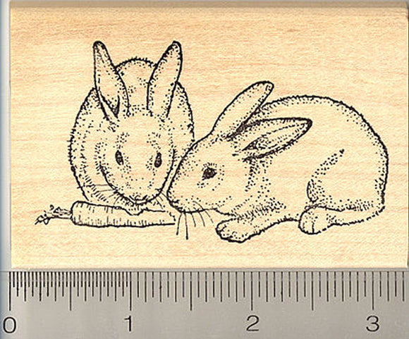 Bunny Rabbit Rubber Stamp, Two Bunnies Sharing a Carrot, House Pet