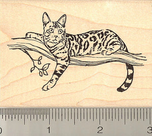 Bengal Cat in Tree Rubber Stamp