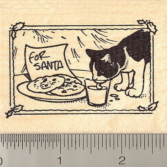 Black and White Cat Christmas Square Rubber Stamp
