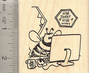 Hive Sweet Hive, Bee on the Internet Rubber Stamp