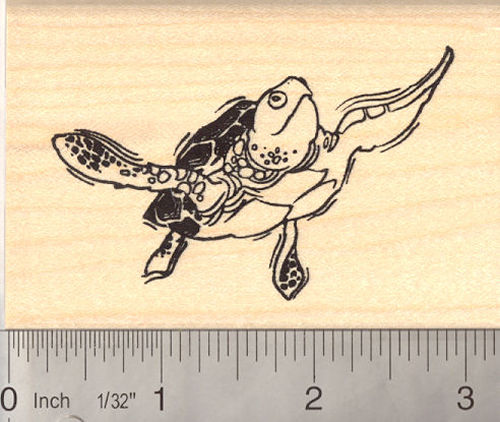 Green Sea Turtle Rubber Stamp
