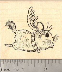Cute Christmas Chinchilla Reindeer Rubber Stamp